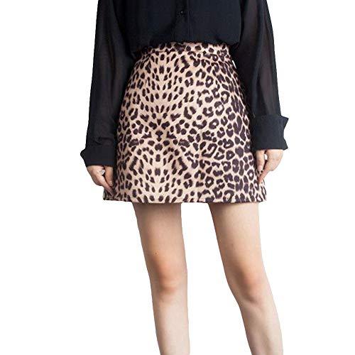 CoURTerzsl Vestido, Fiesta Nocturna Club Nocturno Mujeres Sexy Estampado Leopardo Cintura Alta Una línea Mini Falda Apricot L