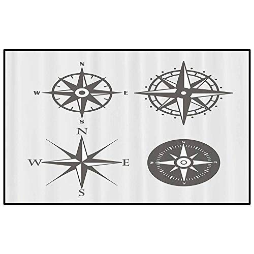 Compass Decor Collection Christmas Bathroom Rugs Patio Rugs Wind Rose Old Fashion Navigational Equipments Orienteering Illustration Print Modern Indoor Home Living Room Floor Carpet Gray