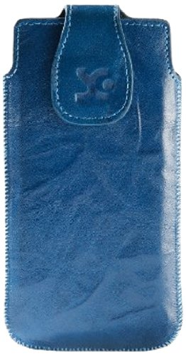Suncase Echt Ledertasche für das Huawei Ascend G525 Dual-Sim in wash-blau