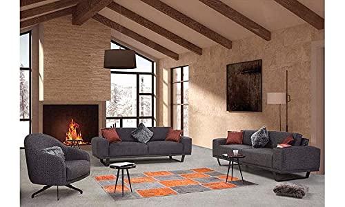Dimax Sofá tapizado de tela de lino 3 + 3 + 1, modelo mono, muebles de calidad