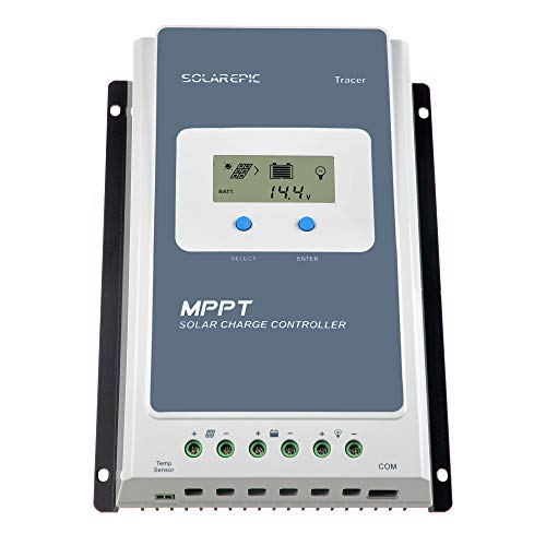 EPEVER 40A MPPT Solar Charge Controller 100V Input Tracer 4210AN with Display Negative Ground Lithium Battery Charger Work with LiFePO4