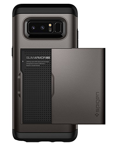 Samsung Galaxy Note 8 Case, Spigen® [Slim Armor CS] Galaxy Note 8 Case Cover with Slim Dual Layer Wallet Design and Card Slot Holder for Galaxy Note 8 (2017) - Gunmetal 587CS22071