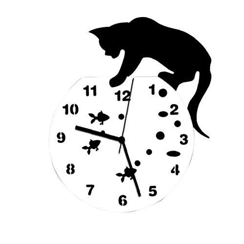 Wanduhr 3D Home Decor Acryl Wanduhr Katze und Fische Design Große Uhr Cat Clock Wohnzimmer-dekorative Uhren