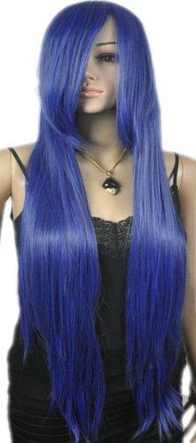 Qiyun Extra Longue Femme Deep Bleu Raide Complete Cheveux Cosplay Anime Costume Perruque