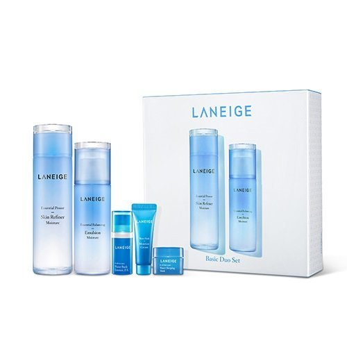 Laneige Basic Duo Set Moisture : Skin Refiner 200ml + Emulsion 120ml + Water Bank Essence 10ml + Water Bank Moisture 10ml + Water Sleeping Mask 15ml