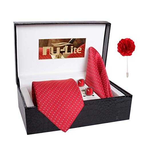 nu-Lite Men's Combo of Cotton Silk Necktie, Pocket Square and Lapel Pin Cufflinks(Red, Free Size)