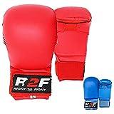 R2F Sports WKF PU Sin Pulgar Karate Mitones Artes Marciales MMA Muay Thai Sparring Formación Guantes