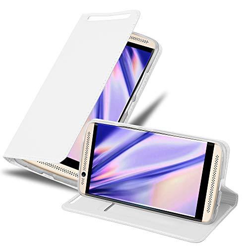 Cadorabo Hülle für ZTE Axon 7 in Classy Silber - Handyhülle mit Magnetverschluss, Standfunktion & Kartenfach - Hülle Cover Schutzhülle Etui Tasche Book Klapp Style
