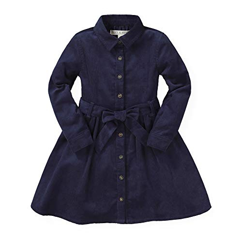 Hope & Henry Girls' Tie-Waist Shirtdress Navy