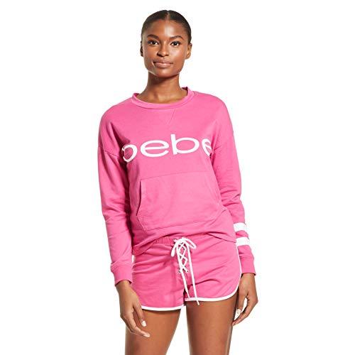 bebe Womens Pajama Set Long Sleeve Shirt and Shorts Sleepwear Pjs Sets Rose Violet 1X-Large