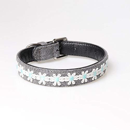 XJBD Collar para Mascotas Collar Bordado para Mascotas-Azul_1,5 * 35 cm [26-32 cm] Pajarita para Perros y Gatos