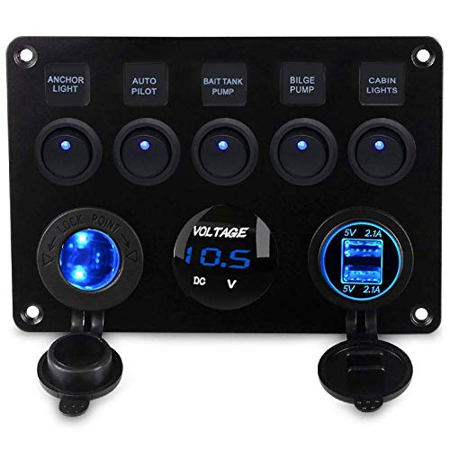 Kohree 5 Gang Rocker Switch Panel 12V Waterproof for RV Boat Car Vehicles Truck Marine, Toggle Led Switch Panel Digital Voltmeter Display Dual USB Charger Port DC