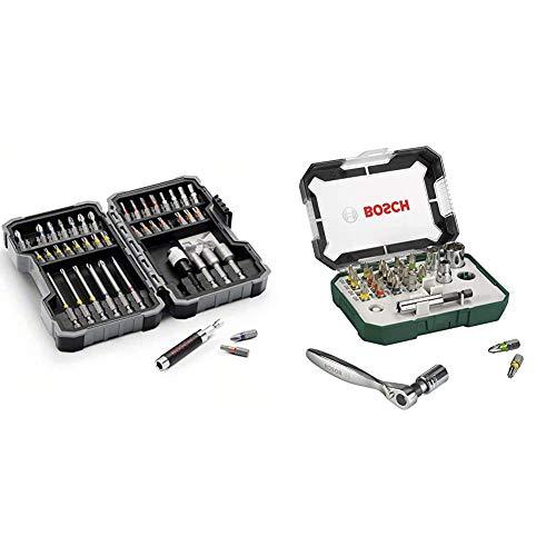 Bosch - Set de 43 unidades para atornillar y llaves de vaso + 2607017322 Puntas de destornillador + trinquete (juego de 26)