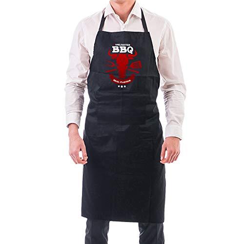 Preis am Stiel - Grembiule nero con pettorina per barbecue, idea regalo per uomini, accessori per barbecue, cucina, giardino, paraspruzzi