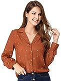 Allegra K Camisa Tops con Bolsillo En El Pecho De Lunares del Corazón Mangas Largas Cuello En V Solapa con Muescas con Botones para Mujeres Rojo Marrón XL