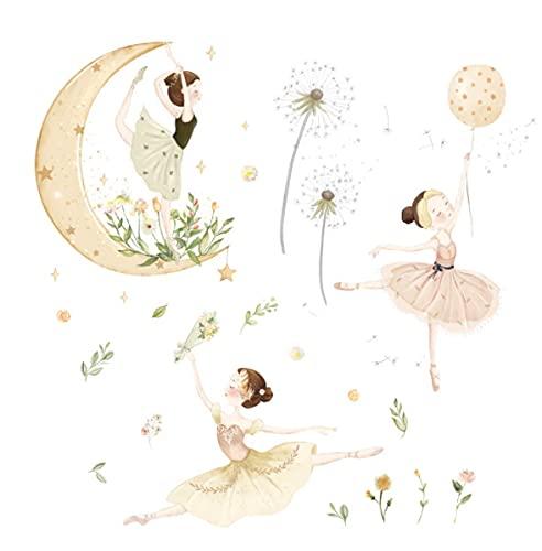 Etiqueta engomada de la estrella de la luna decoración del salón de baile habitación de los niños etiqueta de la pared de la habitación de la princesa papel autoadhesivo de diente de león