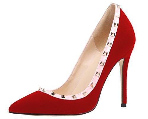 AOOAR - Zapatos de tacón alto con remaches para mujer, color Rojo, talla 36 EU
