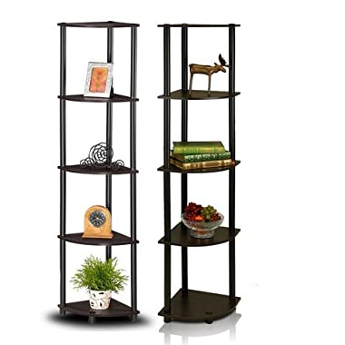 Furinno 2-99811EX/BK Turn-N-Tube 5-Tier Corner Multipurpose Display Shelves, Set of 2