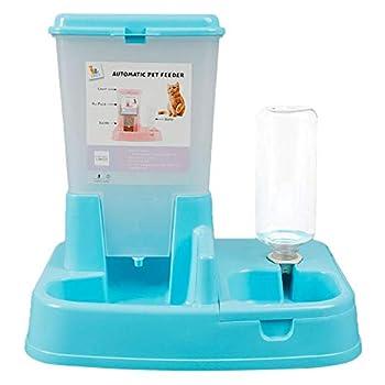 Vommpe Distributeur Croquette Automatiques de Nourriture et d'eau pour Chat/Chien, Croquette pour Chiens Distributeur Eau (Bleu)