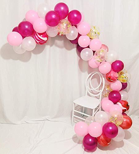 Erosion 80 Stück Gold Konfetti und rosa Achat Marmor Luftballons, Hot Pink und Hellrosa weiße Latex Luftballons Set für Geburtstagsfeierdekorationen Hochzeit Baby Duschen Weihnachtsfest Zeremonie