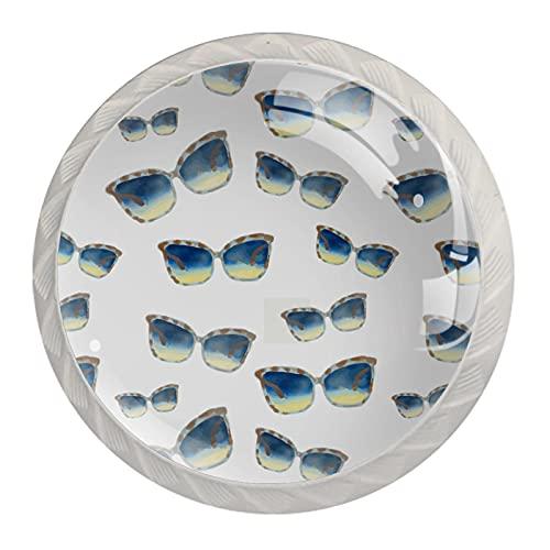 KAMEARI Juego de 4 gafas de sol redondas con perilla de gabinete