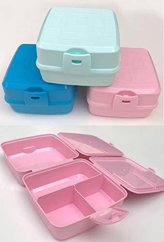 BHM Vesperbox Lunchbox Brotdose 4 Fächer Frühstücksbox Vesperdose mit Besteck (ROSA)