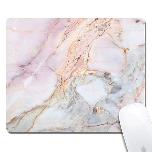 Customized Printed White and Pink Marble Mouse Pad Ergonomic Computer Mouse Pad (9.5x7.9x0.1inch) Extended Gaming Mouse Mat with Non-Slip Rubber Base for Desktops Laptop Computer & PC, Home & Office