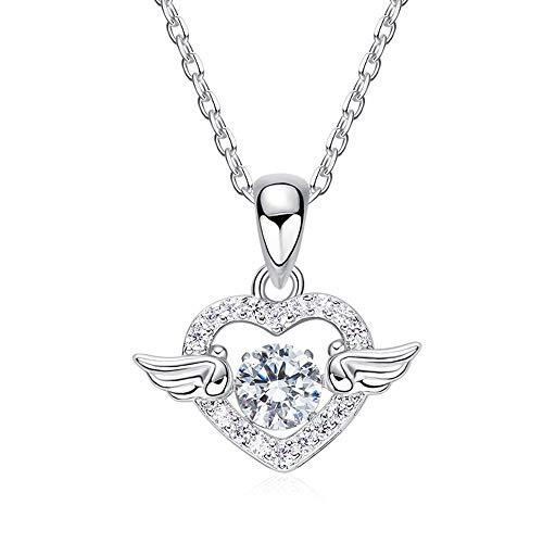 NIMUIL Damen 925 Sterling Silber Halsketten Herz Kettenanhänger Silberkette, Kristall Von Swarovski mit Hübschen Geschenk Box