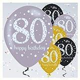 Feste Feiern Luftballon Set zum 80. Geburtstag 80ster Geburtstags-Deko Mann Frau Gold Schwarz Silber metallic 6 Stück Zahlenballon 80 happy birthday Jubiläum