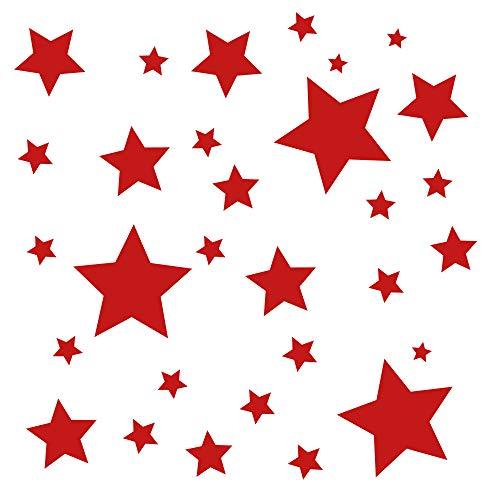 30 Stück rote Sterne Aufkleber, Fensterdekoration zu Weihnachten Fensterbild/Fensteraufkleber, Wandtattoo