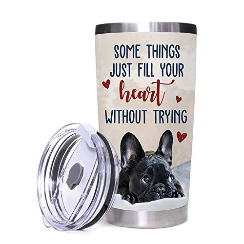 Dog Tumbler Black French Bulldog Stainless Steel Travel Mug Double Walls Vacuum Insulated Cup Hot&Cold Drinks Pug Heart Durable Water Cup with Easy-clean Lid For Home Office Outdoor (20 oz)