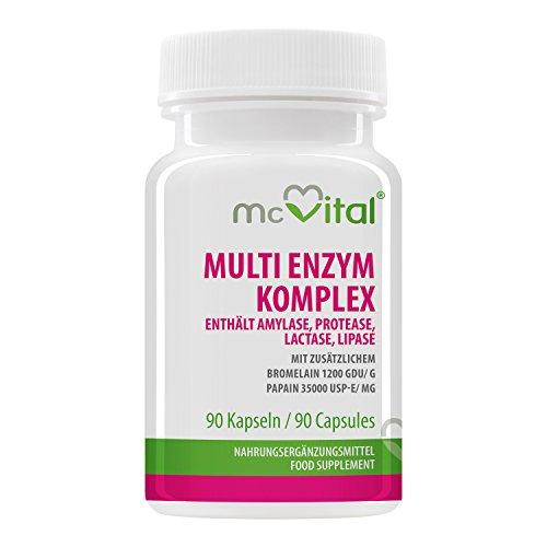 Multi Enzym Komplex - enthält Amylase, Protease, Lactase, Lipase - mit zusätzlichem - Bromelain 1200 GDU g - Papain 35000 USP-E mg - 90 Kapseln