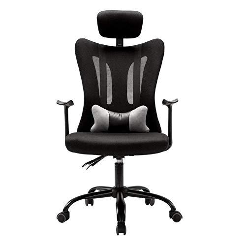 Jieer-C Vrijetijdsstoelen, bureaudraaistoel, compacte bureaustoel, hoofdsteun, ademende rugleuning, computerstoel, ergonomisch, duurzaam, sterk zwart