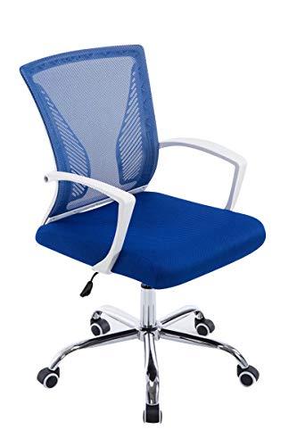 CLP Höhenverstellbarer Bürostuhl Tracy I Ergonomischer Schreibtischstuhl Mit Netzbezug Und Armlehnen und Polsterung, Farbe:blau, Gestell Farbe:Chrom
