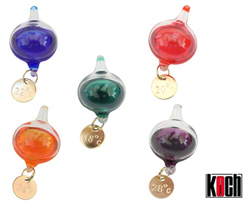KOCH Galileo Thermometer, (S), 28 cm, 5 Balls, multicolor