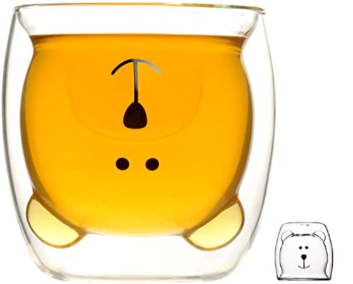 Cymax Taza linda de vidrio doble pared, Taza de café té leche...