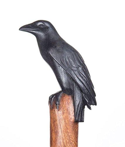 Windalf Bâton de randonnée fait main Munin 130 cm Corbeau d'Odin Mythologie nordique en bois