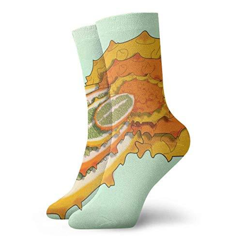 QUEMIN Calcetines cortos de algodn para adultos de meln con cuernos africanos, calcetines cmodos de algodn de 30 cm, calcetines deportivos informales deportivos de punto plano de 30 cm