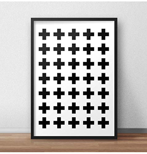 Abstract Pattern Minimalist Plus Sign Canvas Painting Wall Art Poster Swiss Black and White Pictures Kids Room Home Decor 40x60cm No Frame