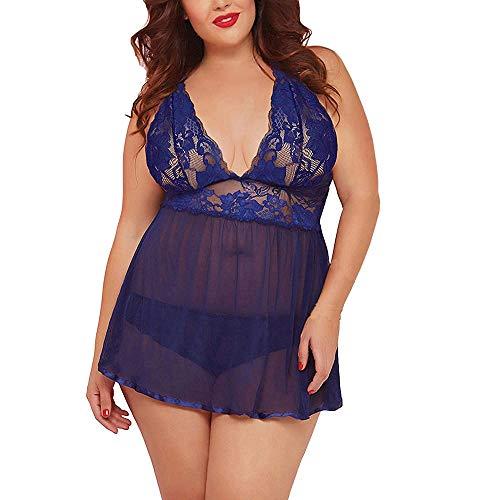 Ropa Erótica para Mujer Pijamas Sexy Tallas Grandes Lencería con Cuello En V Vestido Babydoll Transparente-Azul_XXL