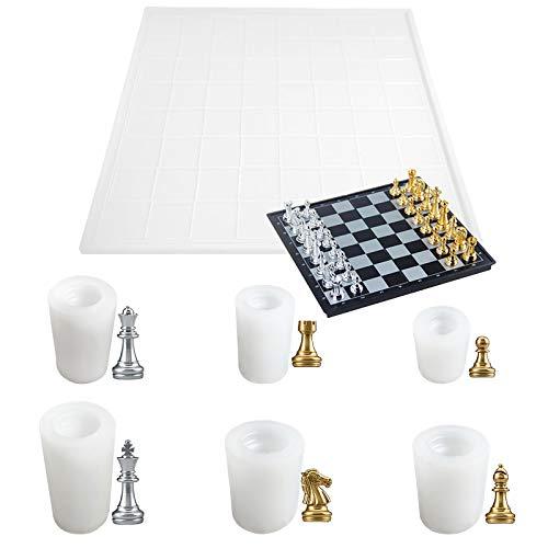 Opaltool Harz-Silikonform, Schachbrett, Schach-Set, Kunstharz-Kunstformen mit 6 Schachfiguren und 30 x 30 Schachbrett, DIY Schach-Set für DIY Kerzen Dekorieren Werkzeuge, handgemachte Versorgung