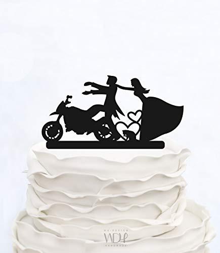 Decoración para pasteles Decoración para tarta de boda con diseño de silueta de niños y 2 figuras personalizadas para decoración de tartas