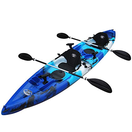 BKC TK181 12.5' Tandem Sit On Top Kayak W/ 2 Soft Padded Seats, Paddles,7 Rod Holders Included 2...