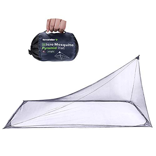 4Monster Mosquito Camping Insect Net with Carry Bag, Compact and Lightweight, Fits Sleeping Bags, Bed, Tent (Single)