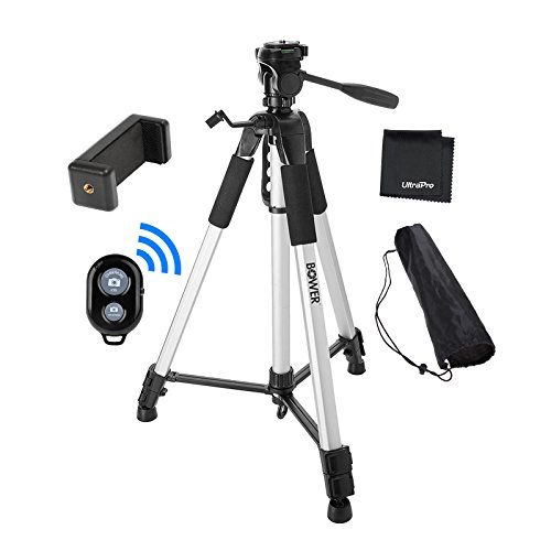 """UltraPro 72"""" Inch Heavy-Duty Aluminum Camera Tripod with Universal Smartphone Mount + Bluetooth Remote Control Camera Shutter for All Smartphones, Includes UltraPro Microfiber Cleaning Cloth"""