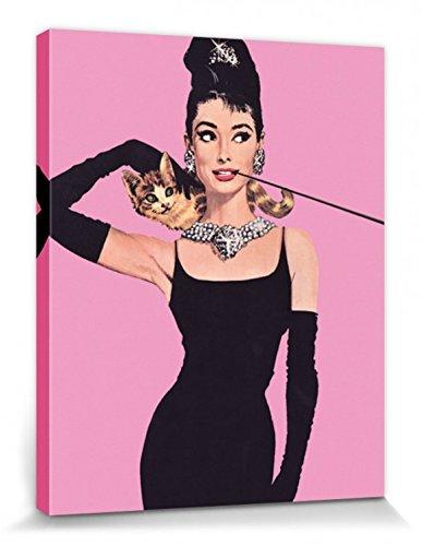 1art1 Audrey Hepburn - Breakfast At Tiffany's, Pink Pop Art Cuadro, Lienzo Montado sobre Bastidor (50 x 40cm)