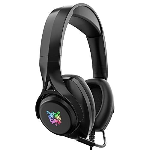 gamingdio Auriculares para videojuegos para PS4/PS5/PC/Xbox One/Mac Over-Ear con micrófono cancelación de ruido, almohadilla para la cabeza (negro)
