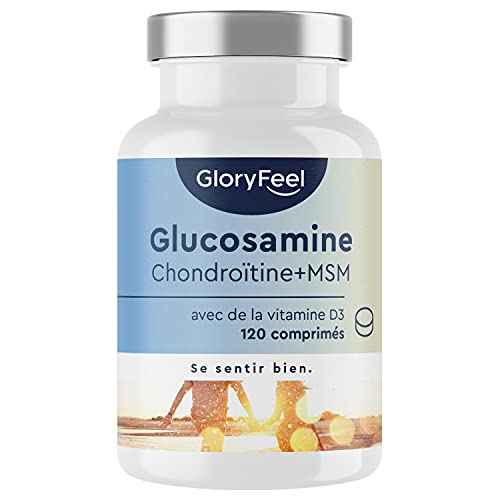 Glucosamine 1600mg + Chondroïtine + MSM + Calcium + Vitamine D + Acide hyaluronique, 120 capsules, Complément Alimentaire Musculation Anti-Inflammatoire, pour Douleurs Musculaires
