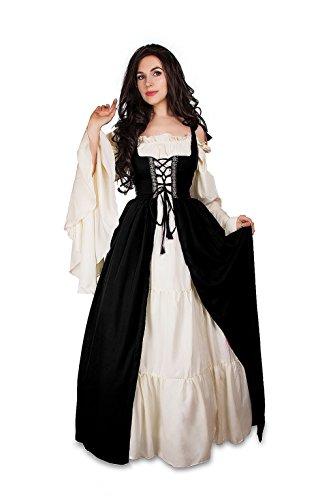 Mythic Renaissance Medieval Irish Costume Over Dress & Chemise Set (XXS/XS, Black)