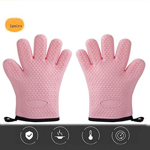 Oven handschoen silicone bakken barbecue koken ovenhandschoenen hittebestendige handschoenen en een barbecue en een keuken bakken handschoen   1 Een dubbele handschoenen